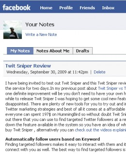 Overview of a Facebook note