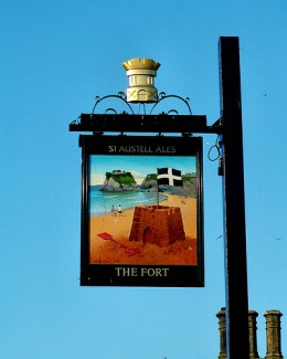 Holiday Activities for Children in Newquay: The Fort Inn pub sign.