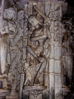 Sword-wielding Yakshi.Notice the errors in proportion and limbs.