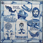 Real Portuguese azulejo, based on symbols, objects and real or mythical characters from the Mexican narco world. Unique hand painted piece, Lisboa, Portugal.