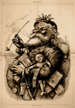 "Thomas Nast's famous drawing of ""the old jolly old elf"" which gave us our modern idea of what Santa Claus looks like."