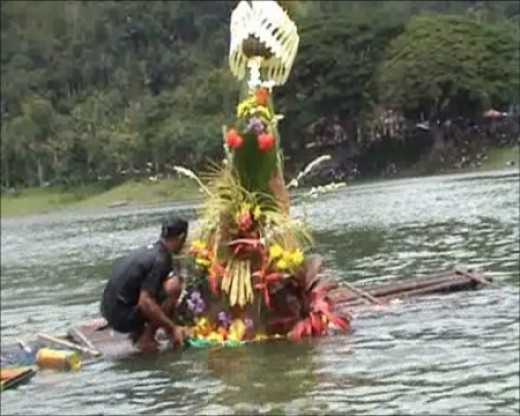 The Sea Offering for Larung Ceremony in East Java, Indonesia