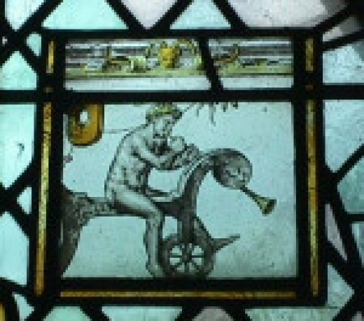 "The naked angel from the ""Bicycle Window"" in St Giles's Church, Stoke Poges"