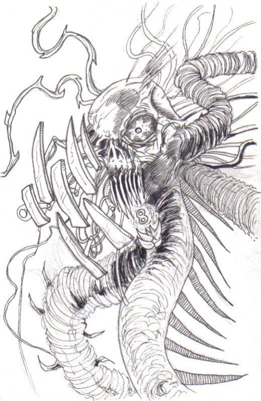 A mask concept of a demon cyborg thing, just imagine having to try and create this from my design as a mask.  Drawing copyright Wayne Tully 2009.