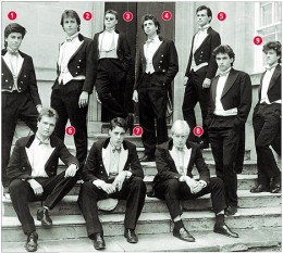 The Bullingdon Club some time in the distant past. David Cameron is the solid and reliable right-back wearing No. 2 Boris Johnson is the mercurial but unpredictable and overweight inside-left wearing No. 8