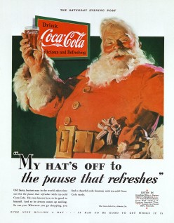 Coca cola santa Claus created in 1931 by Haddon Sunblom, published in the Saturday Evening Post.