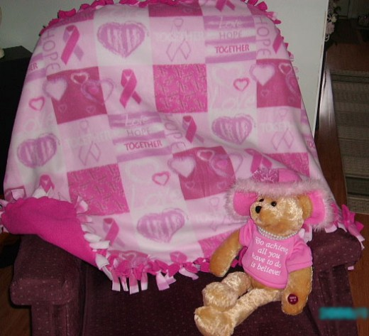 The hope blanket for a friend and to raise funds for research and breast cancer awareness
