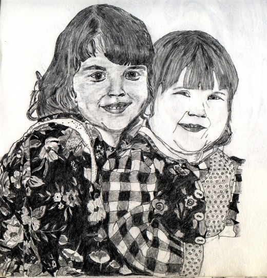 After Drawing.  Instead of redoing my portrait, I decided instead to draw family members.  My sister gave me a portrait picture of her two daughters.  I used it to create this drawing.