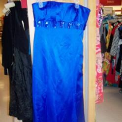 Badgley Mischia Blue satin Strapless dress with detail under bust What a FIND!