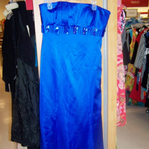 Badgley Mischia Blue satin Strapless dress with detail under bust What a FIND!