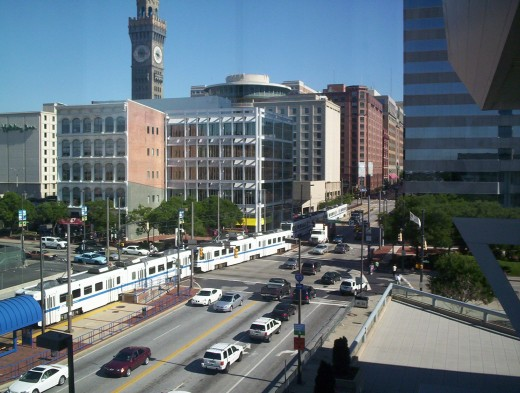 Downtown Baltimore with the light transit railway and Selzer tower behind