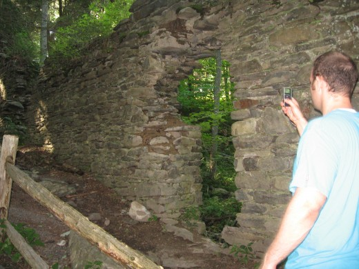 Me recording the ruins.