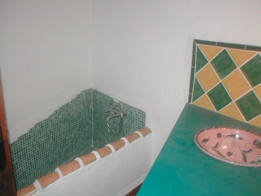 The bathroom in a cave house