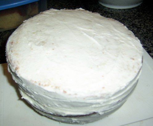 Cake covered with butter icing
