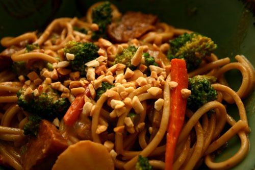 Asian roasted peanut noodles with broccoli and tempeh