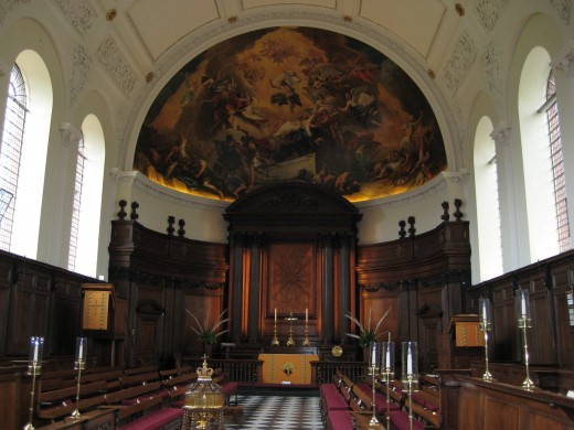 Designed by Christopher Wren, the chapel at the Royal Hospital in Chelsea is open to all if you attend a service.