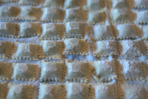 A  fresh row of agnolotti