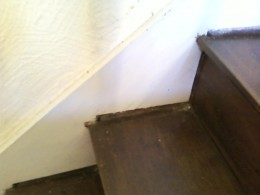 Staircase subsidence caused by deterioration of the supporting floorboards