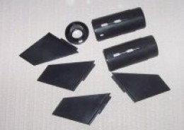 Plastic fins and engine parts
