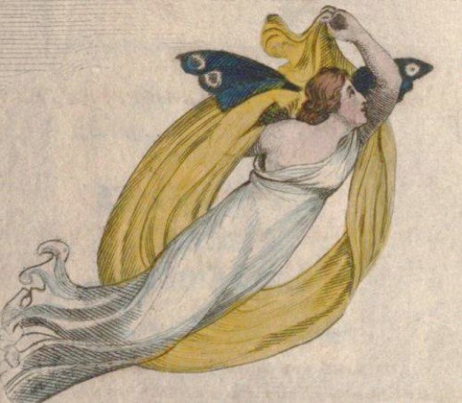 "Psyche, transformed to a butterfly from ""The Butterfly's Funeral"" (1808)."
