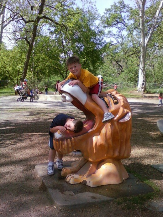 Marshall in the lion's mouth and Wyatt on top. So much fun!