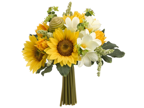 Country wedding bouquets with sunflowers and daisies are very popular.