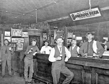 Skagway, Alaska bar welcomes gold miners.