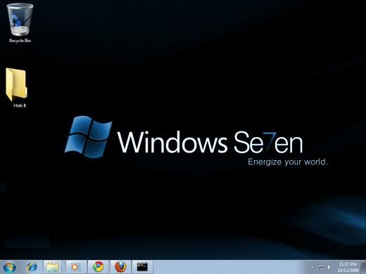 """Windows 7 desktop appearance before hidden a folder """"Hide It""""."""