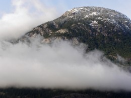 Low clouds cling to the side of the mountain Photo by C.Borthwick all rights reserved