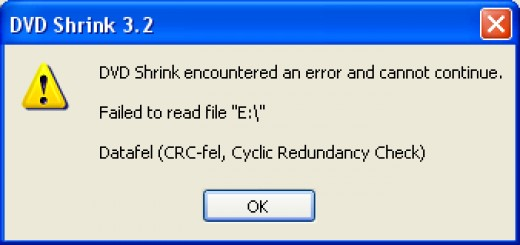 "This is what the ""Cyclic Redundancy Check Error"" looks like."