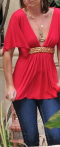 silk red tunic top womens tunic for evening wear