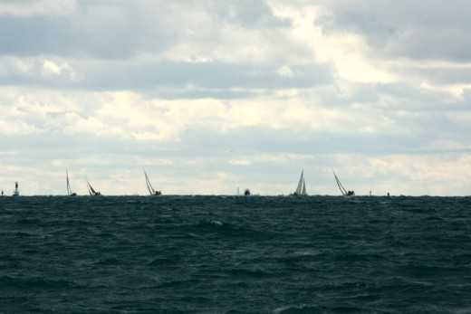 The fleet leaves Lorax in the dust after a broken main halyard dropped her from second to last place, BYC N. Channel Race 2009   deedsphoto