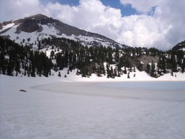 A frozen lake within the park