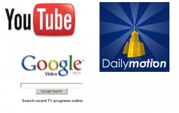 Youtube Dailymotion and Google Video logos
