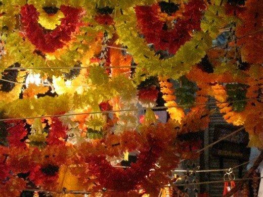 Shop in Johari Bazar decorated with flower