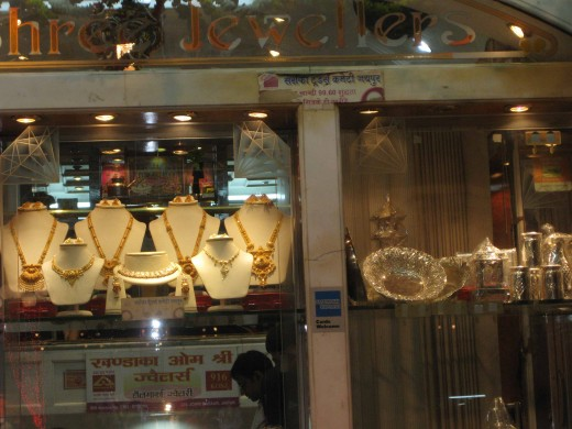 A gold jewelry and silver articles shop in Jaipur. Photo taken on Dhan Teras festival.