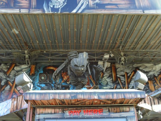 The front of the ghost train with skeletons and what looks like a demon of some kind.
