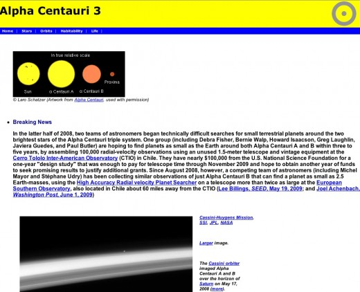 Example of the an information webpage of one of the stars.  This is only the first page.