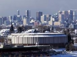 The Pacific Coliseum, with a spectacular view of Vancouver in the background, has a seating capacity of 14,200