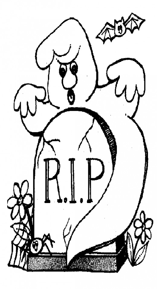 Halloween Zombie Kids Coloring Pages Free Colouring Pictures to Print-and-Colour - Graveyard Ghost