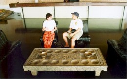 Intricately Carved Wood Board Structure For Playing Mancala Games