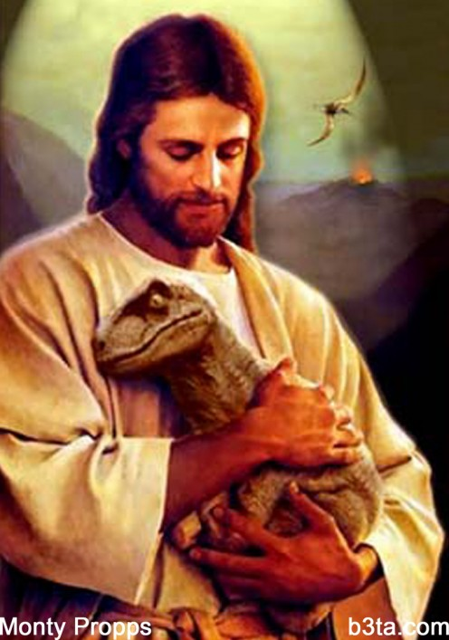Traditional Velociraptor Jesus, as we knew him best...