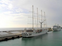 Windstar vessel berthed at Quay 13A, Port Civitavecchia, Italy