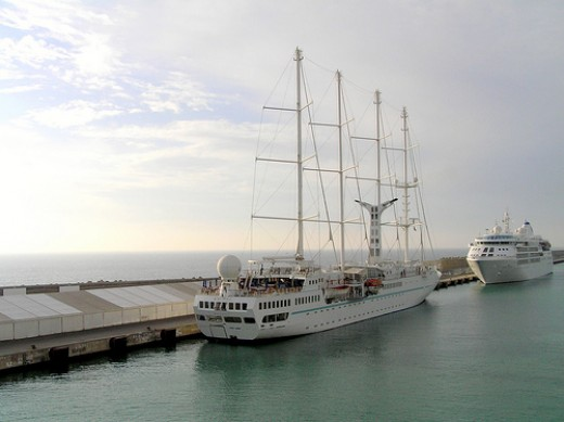 Windstar vessel berthed at Quay 13A, Port Civitavecchia, Italy