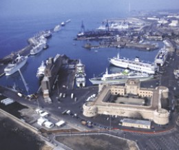 Port of Civitavecchia, with Forte Michelangelo in foreground
