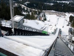 A view from the top of the ski jump in Olympic Park. It takes nerves of steel and years of skill to push off (courtesy vancouver 2010.com)