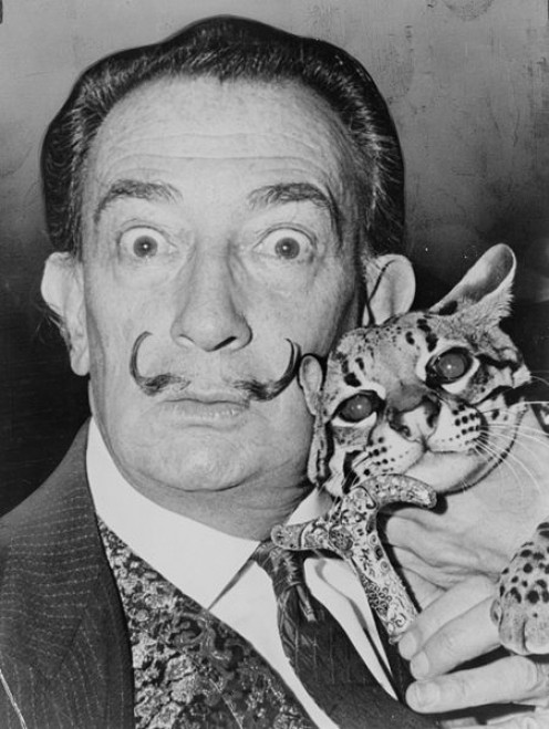 In my reader's imagination, I often envisioned Hercule Poirot to look a little like Salvador Dali. (public domain)