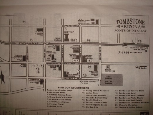 Map of Tombstone for Helldorado Days taken from the free Tombstone paper