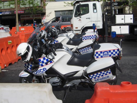 The boys in blue escorted the parade to Phillip Island