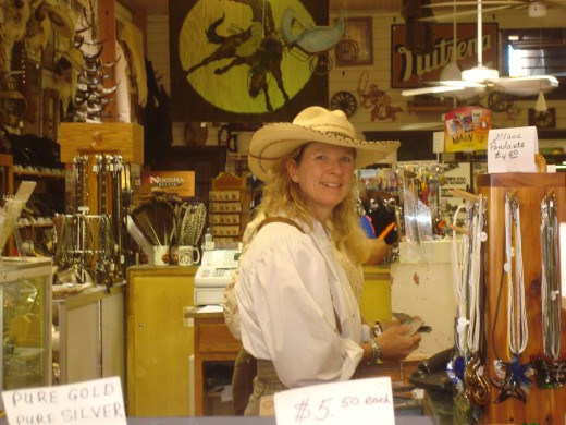 Nell Kline, in her store, The Red Buffalo  We were the blast from her past! Man did we surprise her! It was great!